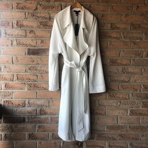 MAISON CINQCENT | Long white pinstripe trench coat
